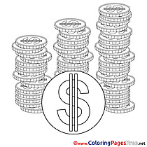 Coins Kids Business Coloring Page