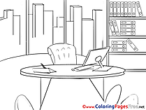 Desk free Business Coloring Sheets