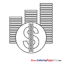 Dollars download Business Coloring Pages