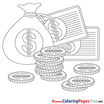 Money Children Business Colouring Page