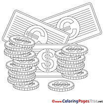 Money free Business Coloring Sheets