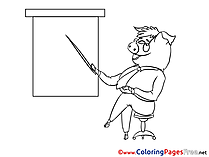 Pig Kids Business Coloring Page