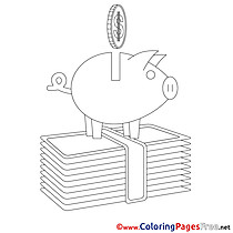 Piggy Bank for Kids Business Colouring Page
