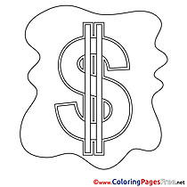 Symbol Dollar Kids Business Coloring Pages