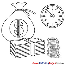 Time Money printable Business Coloring Sheets