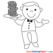 Waiter Money Business Coloring Pages free