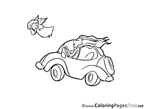 Angel Car free Colouring Page download