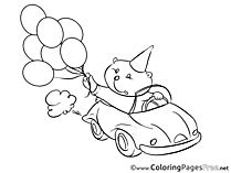 Bear Car for free Coloring Pages download