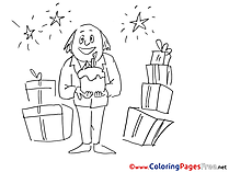 Anniversary Gifts Kids download Coloring Pages