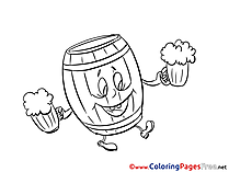 Barrel Oktoberfest free printable Coloring Sheets