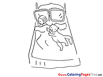 Bed download printable Coloring Pages