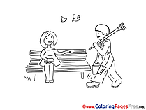 Bench Kids download Coloring Pages