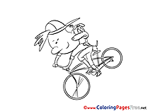 Bicycle Children download Colouring Page