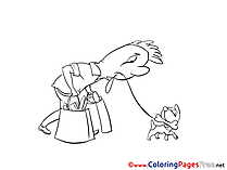 Dog Kids free Coloring Page