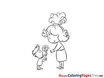 Flower for Kids printable Colouring Page