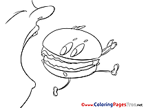 Hamburger free Colouring Page download