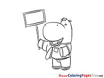 Hippopotamus Coloring Sheets download free