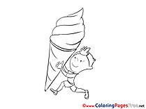 Ice Cream download Colouring Sheet free