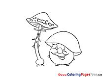 Mushrooms Kids download Coloring Pages