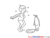 Penguin for Kids printable Colouring Page