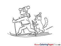 Ski for Kids printable Colouring Page