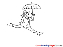 Umbrella Children Coloring Pages free