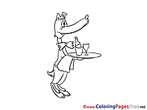 Waiter Colouring Sheet download free