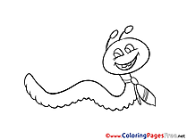 Worm Kids free Coloring Page