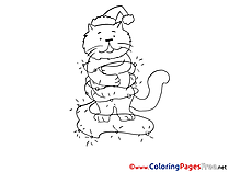Christmas Cat for free Coloring Pages download