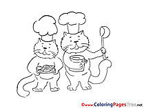Cook Cats Children download Colouring Page