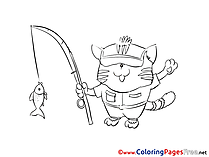 Fish Cat for Kids printable Colouring Page