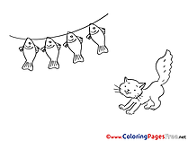 Fish Cat printable Coloring Pages for free