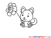Flower Cat Children Coloring Pages free