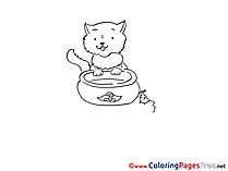 Mouse Cat Colouring Page printable free
