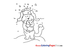 Winter Cat download printable Coloring Pages