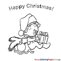 Baby Kids Christmas Coloring Pages