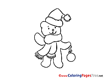 Bear Kids Christmas Coloring Page