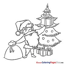 Beard Santa Claus free Christmas Coloring Sheets