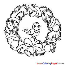 Bird Kids Christmas Coloring Page