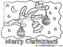 Branch Bell Colouring Page Christmas free