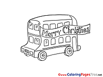 Bus Christmas Coloring Pages free