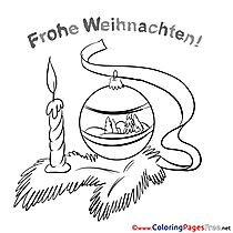 Candle Christmas Coloring Pages download