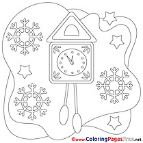 Clock Colouring Page Christmas free