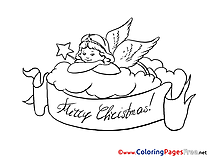 Cloud Angel for Kids Christmas Colouring Page