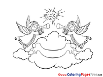 Cloud Angels printable Coloring Pages Christmas