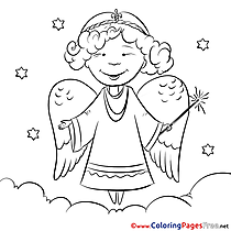 Clouds Angel Christmas Coloring Pages free