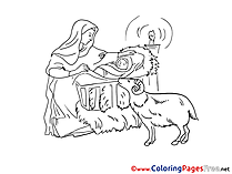 Creche Christmas Coloring Pages free