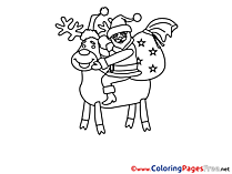 Deer Christmas Coloring Pages free