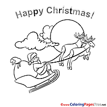 Deers Kids Christmas Coloring Pages