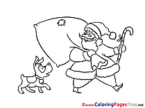 Dog Colouring Page Christmas free